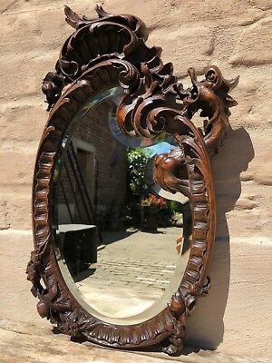 AUTUMN SALE! A French Louis XV/ Gothic Walnut Griffin/Gargoyle/ Dragon Mirror