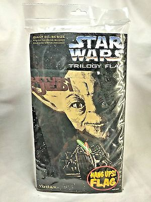 Great Scott! Vintage 1996 Lucas Films Star Wars Trilogy Flag Yoda Nylon Banner