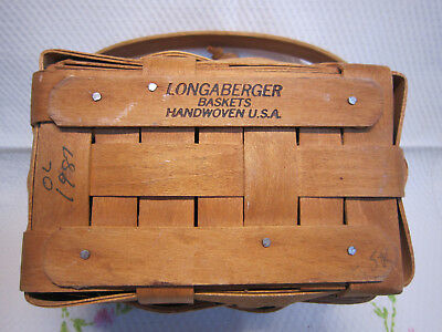 "Longaberger Small Picnic Basket 6"" Across From 1987 Basket Only Excellent Shape"