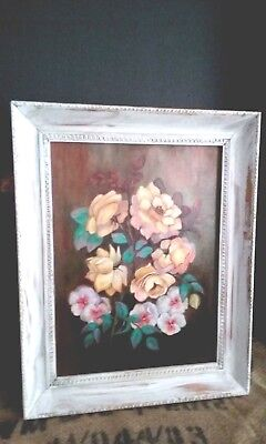 Florida oil painting,pink yellow roses,floral,still life,signed,framed,pansies