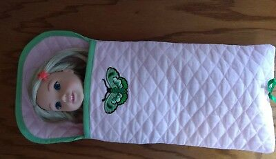 Pink quilted sleeping bag, butterfly trim~ handmade for  WellieWishers