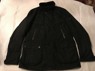 """NWT Barbour x Land Rover Alloy Jacket Black Waxed Cotton Large 45"""""""