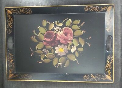 Vintage Toleware Black Metal Tray with Hand-painted Flowers and Scrollwork