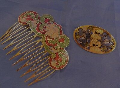 Cloisonne Hair Pin and a Gold Coloured Brooch