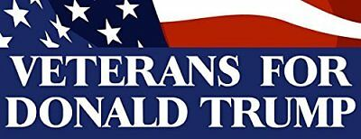 3x9 inch Veterans for Donald Trump Bumper Sticker (Vet Military us Served Army)