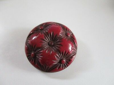 Vintage Dark Red Buffed Celluloid Button