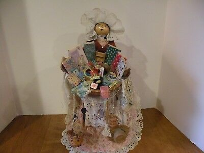 Artisan Hand Crafted Wooden Dressed Doll Unique!