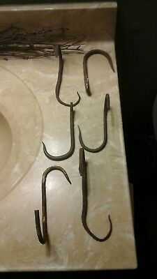 6 Vintage Antique Large + Small Wrought Iron Butchers Hanging Meat Hooks