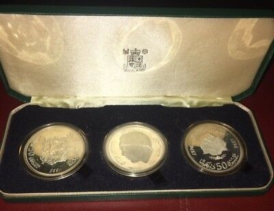1395 1975 & 1976 Kingdom Morocco 3 x Silver Coin Set 50 Dirhams King Hassan 2nd