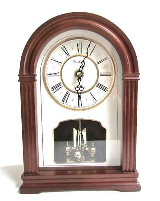 Bulova B8894 Walnut Finish Westminster Chimes Mantel Clock Off White Dial