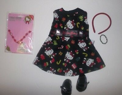 """Hello Kitty Christmas dress and shoes  fits 18"""" American girl doll"""