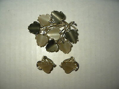 Vintage Goldtone Coro Style Green Thermoset Leaf Flower Brooch Pin & Earrings