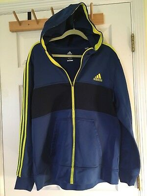 adidas Essentials Track Jacket Hoodie 3 stripe Blue Yellow Men's Extra Large XL