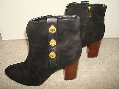 d859e783a TOMMY HILFIGER BLACK Suede Leather Ankle Boots