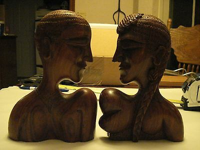Set of Male & Female Carved Wooden Heads, Book Ends