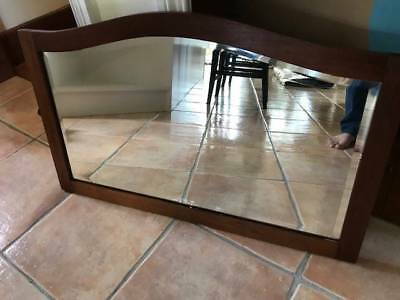 Antique mirror for vanity, wooden frame, with mounting brackets