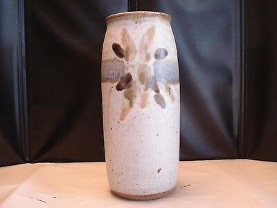 Handmade Ceramic Gray Glazed Vase w/ Design, Artist Signed, 9.5 x 3.5 x 3