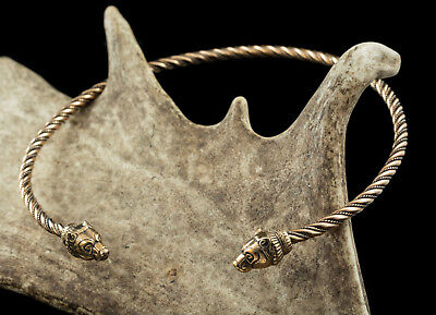 Large BRONZE TORQUES with Bear Heads Torc Celtic Roman Viking Historical Jewelry
