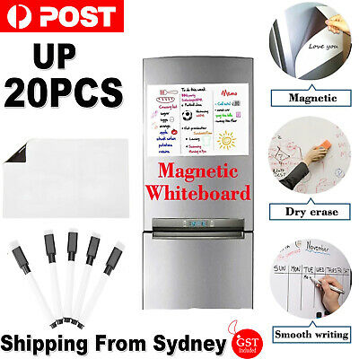 A5 Fridge Magnetic Whiteboard + Board Pen Marker Eraser Memo Reminder Magnet AU