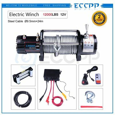 ECCPP 12000LBS Steel Rope Off Road 4WD 12V 5443KGS Electric Winch Towing Truck