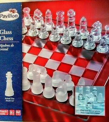 Pavilion Glass Chess Elegant Set Frosted & Clear Checker Glass Board Toys R Us