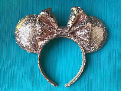 NEW ROSE GOLD Minnie Mickey Mouse Ears Bow Sequins Ears Headband