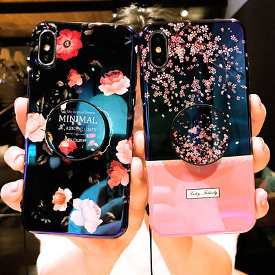 Blue Ray Glossy Flower Phone Case Cover For iPhone XS Max/XR/8/7/6s Plus+Holder