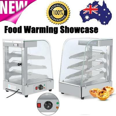 1300W Commercial Pie Food Warmer Stainless Steel Hot Display Showcase Cabinet AU