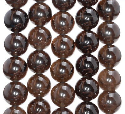 14Mm Natural Clear Dark Smoky Quartz Gemstone Grade Aaa Round Loose Beads 7.5""