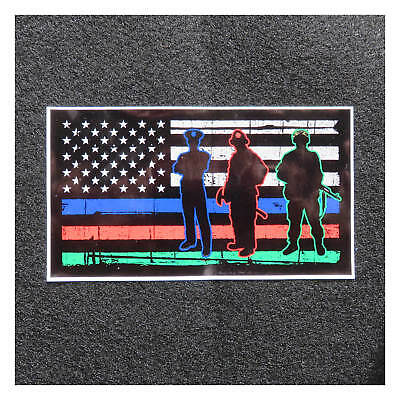 """American Flag Thin Blue Line Thin Red Line Thin Green Line Silhouette 5"""" Decal"""