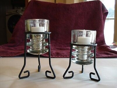 Vint. Iron & Clear Glass Insulator Candle Holders w/LED Tea Lights, Set of 2