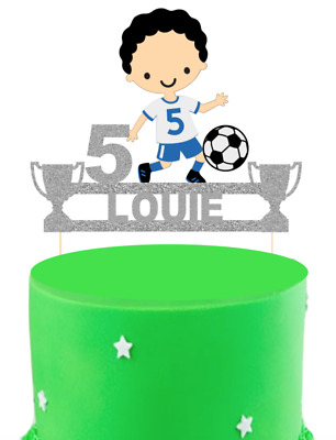Football Soccer Rugby Birthday Cake Topper Personalised Any Colour Kit