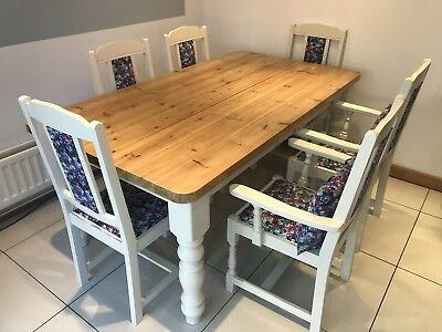 Shabby Chic Dining Table 6 Chairs Bench 8 Seater Rustic Vintage Farmhouse 450 00 Picclick Uk