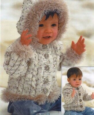134 Knitting Pattern Baby Boys Loopy Dk Jacket With Pockets Chest 40