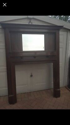 Very Attractive Mahogany Fire Surround With Mirror. Good Condition