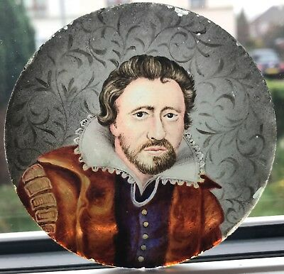 Antique Stained Glass Roundel With Tudor Gentleman Portrait Miniature