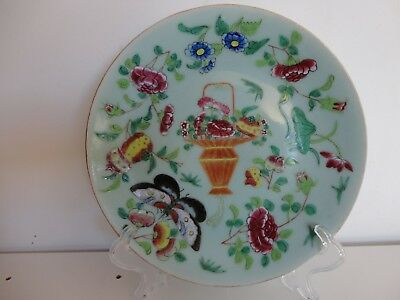 Large antique Chinese 19th C famille rose celadon ground plate