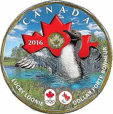 Canada 2016 Olympic & Paralympic Games Coloured Lucky Loonie Plated Gold 24k