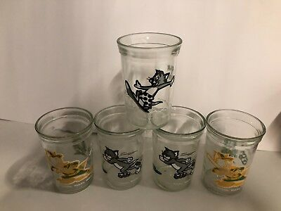Lot of 5 Tom and Jerry Welch's Jelly Collector Glasses