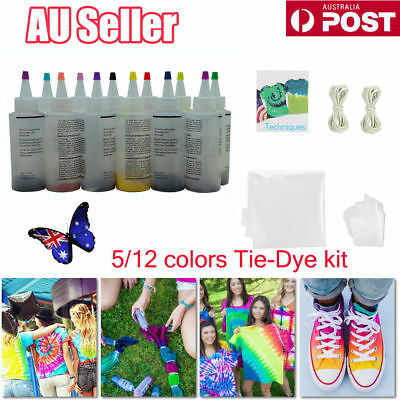 5/12 Colour Bottle Tie Dye Kit + 40 Rubber Band + 4 Pairs Vinyl Gloves DIY Kit E