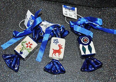 NEW S/3 Boleslawiec Polish Pottery Ornament CANDY PEACOCK DEER SNOWFLAKE Pattern