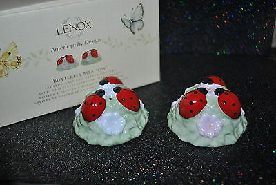 NEW LENOX Butterfly Meadow LADYBUG SALT & PEPPER SET Shakers BOX