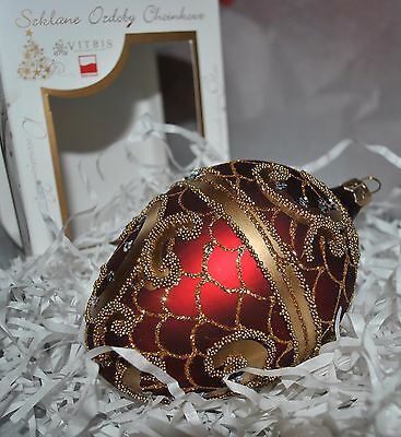 New VITBIS Mouth Blown Glass FABERGE EGG Ornament RUBIN/GOLD SILVER CRYSTALS PL