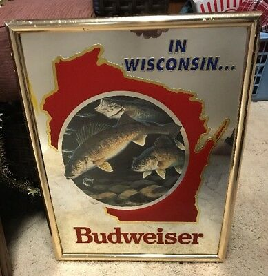 Budweiser Wisconsin Walleye Wildlife Edition Mirror Bar Sign Bud Light Beer Fish