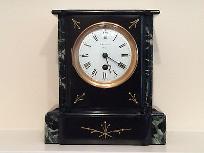 Small and Delightful French Black Slate Mantel Clock c1880
