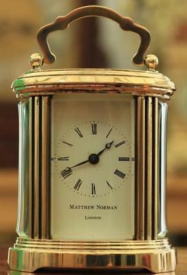 Swiss Mathew Norman Miniature 8 Day Oval Corniche Case Carriage Clock
