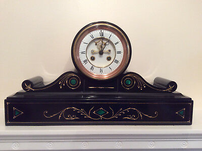 An Elegant French Drum Black Slate Mantel Clock with Green Malachite Inserts c18