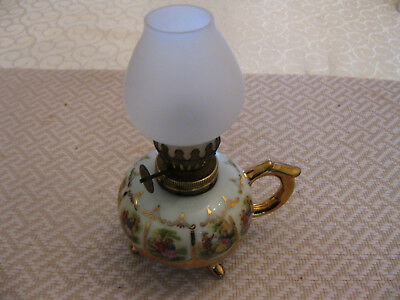 Vintage Miniature Porcelain Oil Lamp, hand painting patterned and Gold