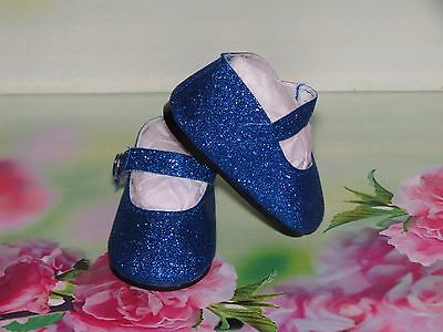 Shoes To Fit The American Galoob Baby Face Girl Doll Royal Blue Sparkle