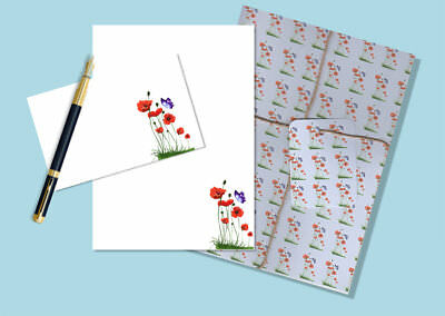 Poppies & Butterfly Letter Writing Paper and Envelopes Stationery Set,  Gift Set